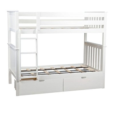Max & Lily Solid Wood Twin over Twin Bunk Bed with Under Bed Storage Drawers
