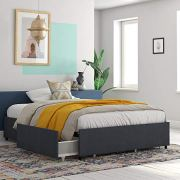 REALROOMS Alden Platform Bed with Storage Drawers, Queen Size Frame