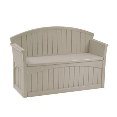 Suncast 50 Gallon Patio Bench with Storage - Decorative Resin Outdoor Patio Bench