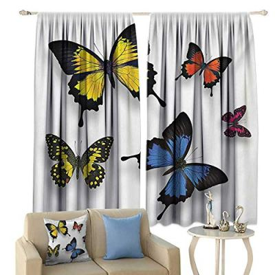 Tidefree Decor Curtains Butterfly Various Colorful Butterflies Pattern and Moths