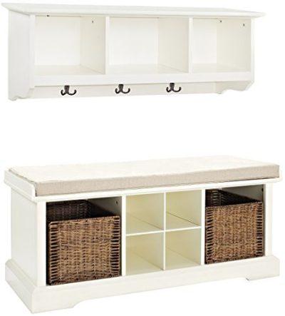 Crosley Furniture Brennan Entryway Storage Bench and Hanging Shelf Set