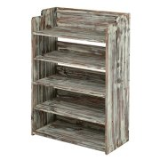 MyGift 5 Tier Rustic Torched Wood Entryway Shoe Rack Storage Shelves