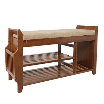 YUSING Bamboo Shoe Rack Bench W/Removable Cushion/Hidden