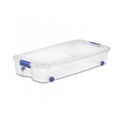 4-Pack Under Bed Plastic Storage Bin Unit Boxes Are Containers For Clothes