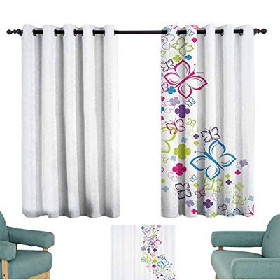 YOFUHOME Colorful Home Decor Simple Curtain Hand Drawn Fantasy