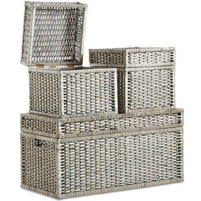 VonHaus Set of 3 Woven Wicker Storage Trunks Chest - End of The Bed Storage