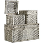 VonHaus Set of 3 Woven Wicker Storage Trunks Chest - End of The Bed Storage