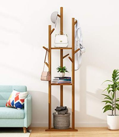 2 in 1 Coat Stand Hat Rack with Stylish Looking 9 Hooks 3 Shelves Tree Rack