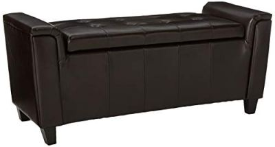 Christopher Knight Home Living James Brown Tufted Leather Armed Storage