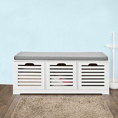 Haotian,White Storage Bench,Shoe Cabinet,Shoe Bench