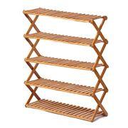 Rakumi Multi-Tier Foldable Bamboo Shoe Rack Multifunctional