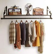 Nicheo Storage Wrought Iron Coat Rack Shelf Wall Mounted