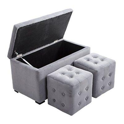HomCom 3 Piece Tufted Microfiber Storage Bench/Cube Ottoman Set