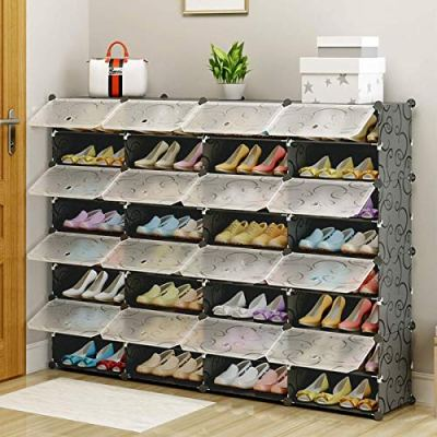 MAGINELS Shoe Rack,Plastic Cube Storage Organizer Units