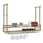 Hanging Wine Rack with Glass Holder and Shelf,Adjustable Metal