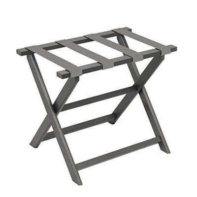 Gate House Furniture Grey Straight Leg Dark ECO Folding Luggage Rack