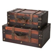 SLPR Crawford Wooden Trunk with Straps (Set of 2, Wine Color)