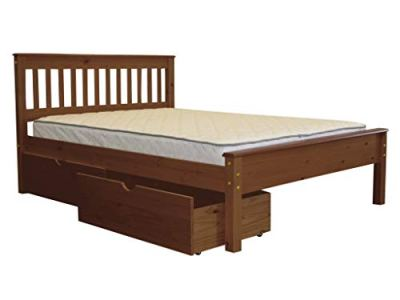 Bedz King Mission Style Full Bed with 2 Under Bed Drawers