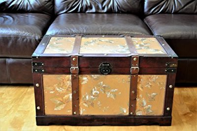 Styled Shopping Gold Leaves Medium Wood Storage Trunk Wooden Treasure Chest