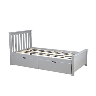 Max & Lily Solid Wood Twin-Size Bed with Under Bed Storage Drawers