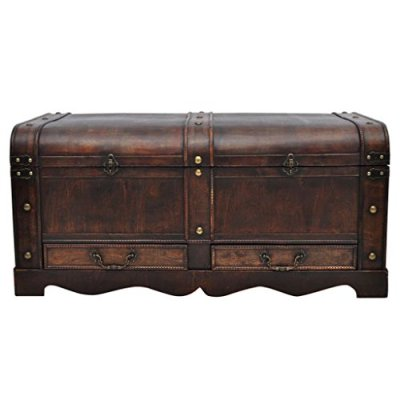GOTOTOP Wooden Treasure Chest Old-Fashioned Antique Vintage Style Storage Box