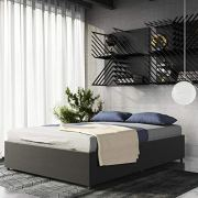 DHP Maven Platform Bed with Upholstered Linen and Wooden Slat Support