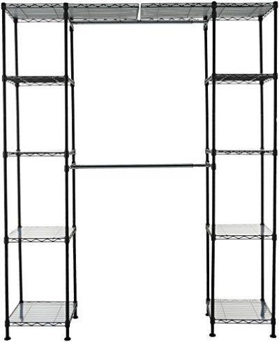 AmazonBasics Expandable Metal Hanging Storage Organizer Rack Wardrobe
