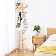 "Tangkula 72"" Standing Coat Rack, Wood Coat Tree with Hooks"