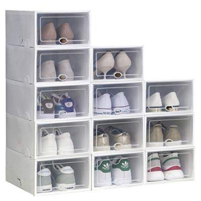 IRONLAND Storage Shoe Box White 12 Pack Clear Plastic