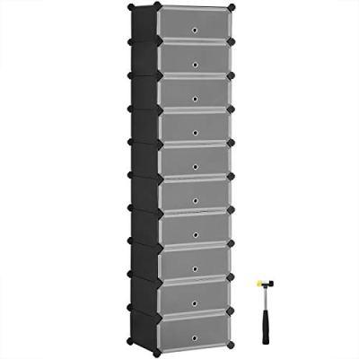 SONGMICS 10-Tier Shoe Rack, Plastic Cube Storage Organizer Units