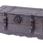 Vintiquewise Vintage Style Gray Wooden Storage Trunk,