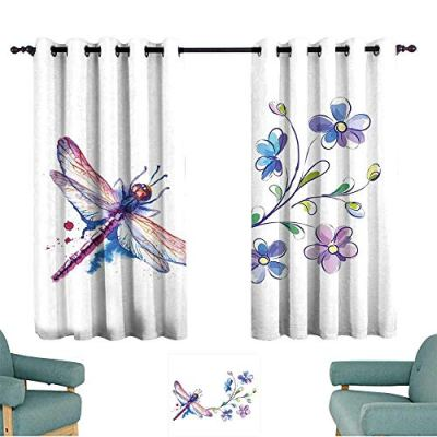 Warm Family Dragonfly Customized Curtains Watercolor Bug