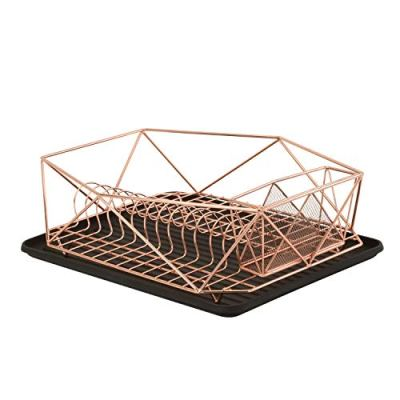 Kitchen Details Geode Deluxe Dish Drying Rack with Drain Board, Cutlery Basket