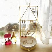Yamfurvo Metal Jewelry Organizer Tower with China Plate Dish Tray (Gold)