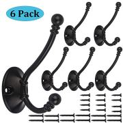 6 Pack Heavy Duty Dual Coat Hooks Wall Mounted with 24 Screws Retro Double