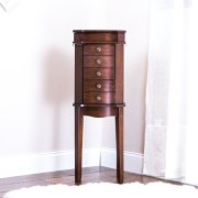 Hives and Honey Hives & Honey Erin Walnut Armoire with Vanity Mirror and Jewelry