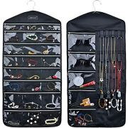MKPCW Hanging Jewelry Organizer Storage Oxford Cloth Holder with Zipper 29 Pockets 16 Hook and Loops (Black)
