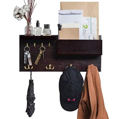 JackCubeDesign Entryway Coat Rack Wall Mount Key Holder Mail Envelope Hook Organizer Clothes Hat Hanger with Faux Brown Leather Shelf and Tray(Solid Wood, 20.5 x 9.1 x 3.4 inches) - :MK362B
