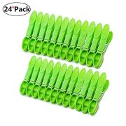 DurReus Sturdy Clothesline Pins for Drying Clothes Large Plastic Clothespins Hanger Clips Pegs Laundry Clamps 24 Pack Green