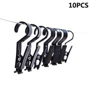 Vpang Super Strong Black Plastic Clever Clips Laundry Hooks Clothes Pins Hanging Clips for Home Office Workshop Travel, Pack of 10