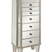 Powell Jewelry Armoire Wood, Silver Mirrored