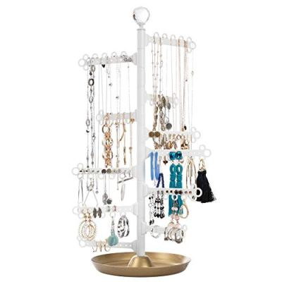 All Hung Up 12-Tier ~ Extra Capacity ~ Earrings (110 Pairs) Necklaces Rings Bracelets ~ Display Everything ~ Tabletop Jewelry Organizer Holder Stand Tower Tree Dish/Tray -Limited Edition: Gold/White