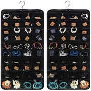 WILLBOND Hanging Jewelry Organizer 160 Pockets 2 Pieces Jewelry Organizer Double Sided Pocket for Holding Jewelries (Black)