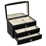 SONGMICS Jewelry Box Wooden Case Organizer with Large Mirror Black UJOW03B