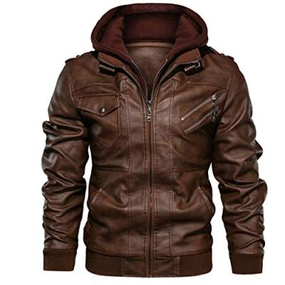 Men's Vintage Removable Hooded Slim Motorcycle Casual Stand Collar