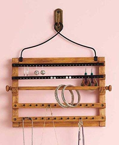Wooden Bohemian Design Jewelry Hooks Storage Hanging Organizer (Space Saver)