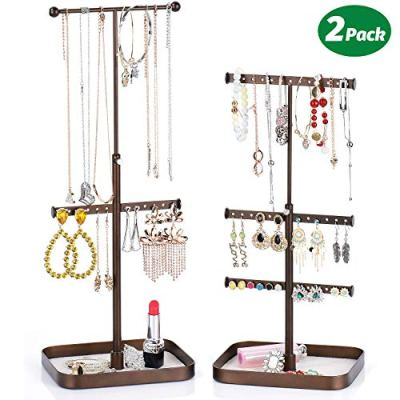 Keebofly Jewelry Stand Organizer Necklace Organizer Display with Adjustable Height for Necklaces Bracelet Earrings and Ring, Bronze Pack of 2