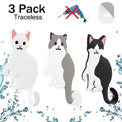 Elegear Cute Animal Adhesive Wall Hooks, Reusable Waterproof Removable Key Hook for Home, Kitchen, Bathroom, Set of 3 (Cat)