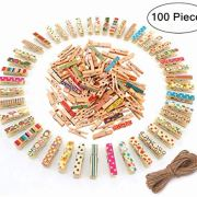 Mini Wooden Clips, Magnolian 100Pcs Colored Natural Mini Wooden Photo Paper Peg Pin Craft Clips Bundle with 66 Feet Jute Twine