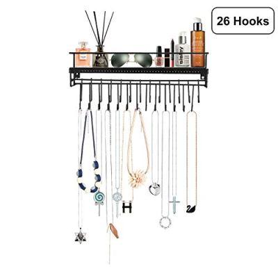 Hanging Jewelry Organizer with 26 Hooks Necklace Holder Necklace Hanger Wall Mount Necklace Organizer Wall Mounted Jewelry Hanging Shelf Wall Mounted Jewelry Display- Straight- Black